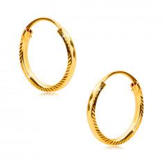 Náušnice ve žlutém 375 zlatě - kruhy s bočním rýhováním a diamantovým řezem, 12 mm