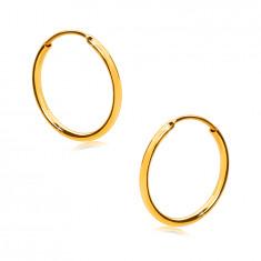 Náušnice ve žlutém 375 zlatě - jemné kroužky, lesklý zaoblený povrch, 12 mm
