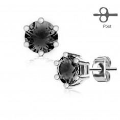 Náušnice z chirurgické oceli stříbrné barvy, kulatý černý zirkon v kotlíku
