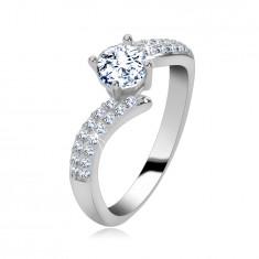 Zásnubní prsten ze stříbra 925, rozpojená stuha, zirkonová ramena, zirkon ve středu