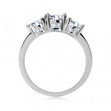 Prsten z 925 stříbra - tři třpytivé čiré zirkony, úzká lesklá ramena vykládaná zirkony