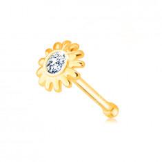 Diamantový piercing do nosu z 585 žlutého zlata - kvítek s briliantem v čirém odstínu
