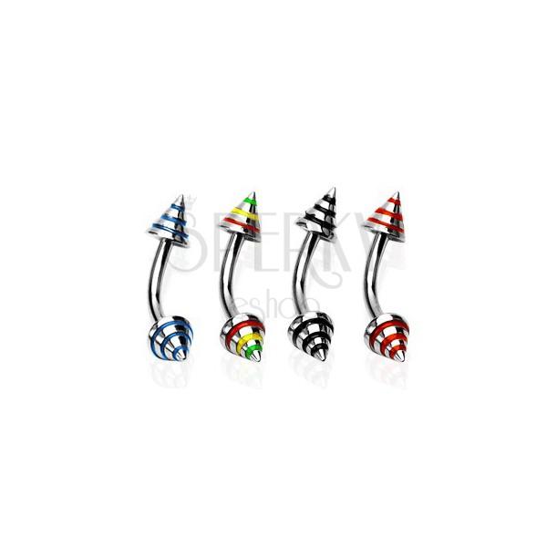 Piercing do obočí se třemi barevnými pásy