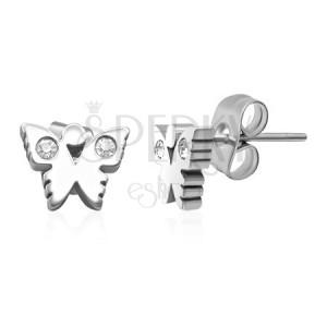 Puzetové ocelové náušnice - motýlek se zirkonovými křídly