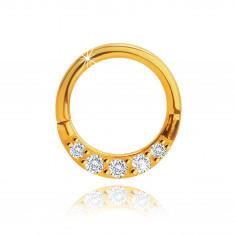 Piercing do nosu ze žlutého 9K zlata, kruh, čiré zirkony, tloušťka 1,2 mm
