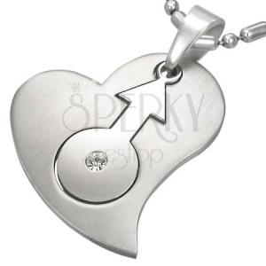 Ocelový přívěsek se srdcem a znakem pohlaví