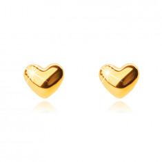 Náušnice ze žlutého 9K zlata, hladká zrcadlově lesklá srdíčka, puzetky, 3 mm
