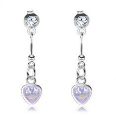 Stříbrné náušnice 925, fialové zirkonové srdce, palička s kuličkou, čirý Swarovski krystal