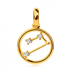 """Přívěsek z 14K žlutého zlata, souhvězdí zvěrokruhu """"Beran"""", kruh, čiré zirkony"""