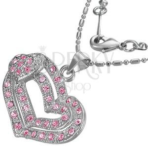 Romantický náhrdelník - růžová srdíčka