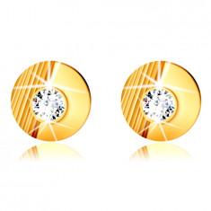 Zlaté 9K náušnice - kroužek se zářezy, hladký půlkruh, vsazený kulatý zirkon, puzetky