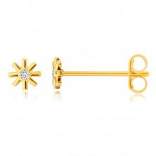 Zlaté 9K náušnice - kvítek, drobný kulatý zirkon, tenké hladké okvětní lístky, puzety