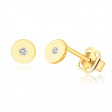 Náušnice ze 9K žlutého zlata - plochý kroužek s čirým zirkonem, lesklý a hladký povrch