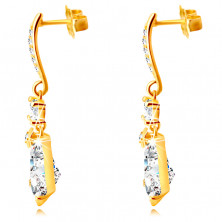 Zlaté 9K náušnice - zirkonový pás, kulatý zirkon, velký blýskavý zirkon ve tvaru slzy, puzetky