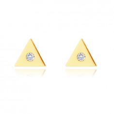 Zlaté 9K náušnice - malý trojúholník s čirým zirkonem uprostřed, puzetky