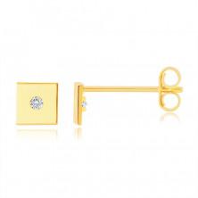 Zlaté 9K náušnice - hladký lesklý čtvereček, drobný kulatý zirkon, puzetové zapínání