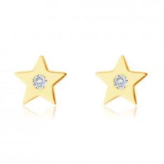 Náušnice ze 9K žlutého zlata - pěticípá hvězdička se zirkonem, hladký lesklý povrch