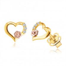 Náušnice ze 9K zlata - obrys srdce, kulaté čiré zirkony, ozdobný kvítek v růžovém zlatě