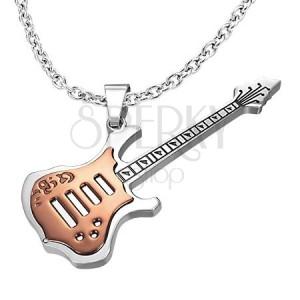 Ocelový přívěsek - měděná kytara