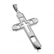 Přívěsek z chirurgické oceli, velký kříž s vyřezávaným křížkem