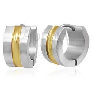 Ocelové náušnice - obruče se zlatým středovým pásem