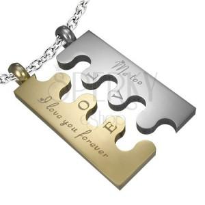 Ocelový přívěsek Puzzle, stříbrno-zlatý