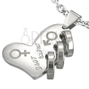 Ocelový přívěsek - stříbrné srdce LUCKY LOVE