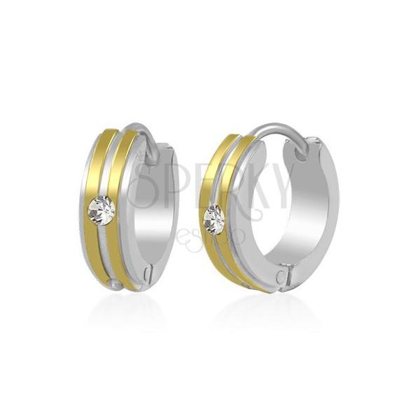 Dvoubarevné ocelové náušnice - kroužky, dva zlaté pruhy a zirkon čiré barvy