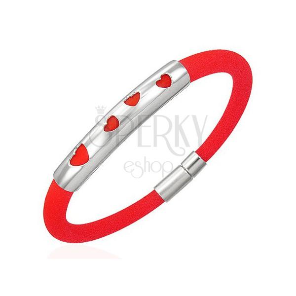 Náramek z gumy - čtyři srdíčka, červený