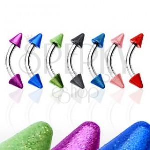 Piercing do obočí se dvěma barevnými hroty