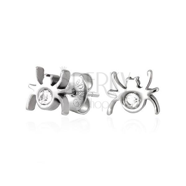 Ocelové náušnice - pavouček se zirkonem