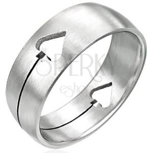 Ocelový prsten Pikový list