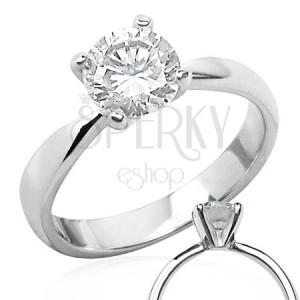 Jemný snubní prsten s čirým zirkonem