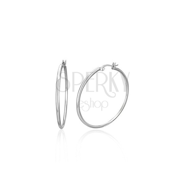 Náušnice z chirurgické oceli - kruhy stříbrné barvy, 15 mm