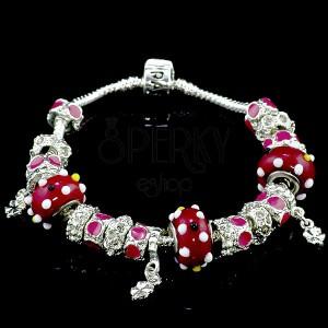 Červený náramek v Pandorax stylu - čtyřlístky | Šperky Eshop