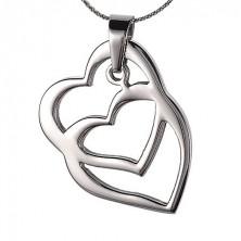 Ocelový přívěsek - překrytá srdce