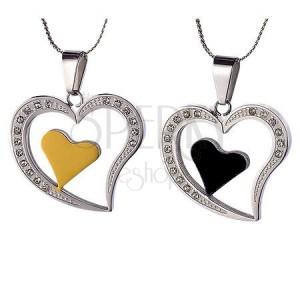 Pár ocelových přívěsků - srdce pro zamilované
