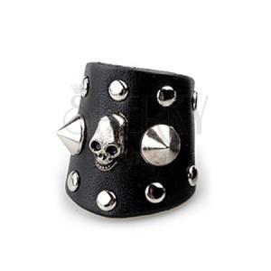 Černý prsten z kůže - lebka s hroty