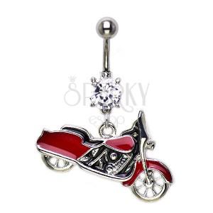 Piercing do pupíku - červený Harley Davidson