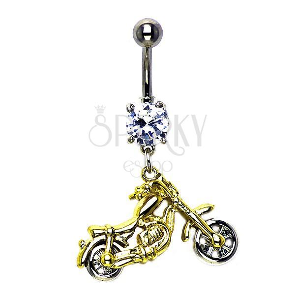 Piercing do pupíku zlato - stříbrná motorka