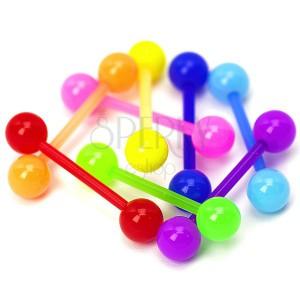 Kuličkový piercing do jazyka - neonové barvy