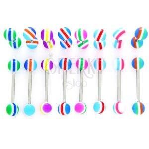 Piercing do jazyka - barevné pruhy