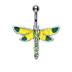 Piercing do pupíku žluto - zelená vážka