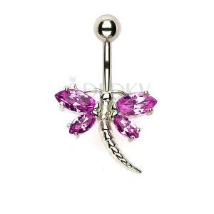 Piercing do pupíku - vážka s růžovými křídly