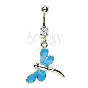 Piercing do pupíku vážka - modrá křídla