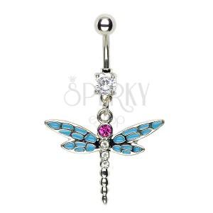 Piercing vážka do pupíku - modrá dělená křídla růžový zirkon