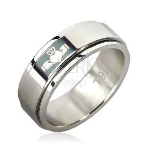 Prsten z chirurgické oceli - zelené pole, srdce v dlaních