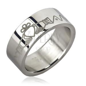Ocelový prsten - srdce v rukách, zoubky, řetízek
