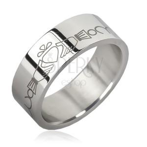 Prsten z chirurgické oceli - řetízek, srdce v rukách