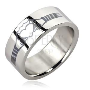 Ocelový prsten - srdce s korunkou, ruce  s pásky
